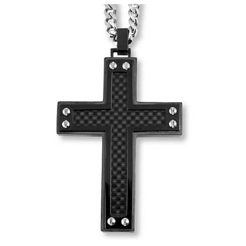 Men's Crucible Blackplated Stainless Steel Black Carbon Fiber Inlay and Screw Accents Cross Pendant - image 1 of 3