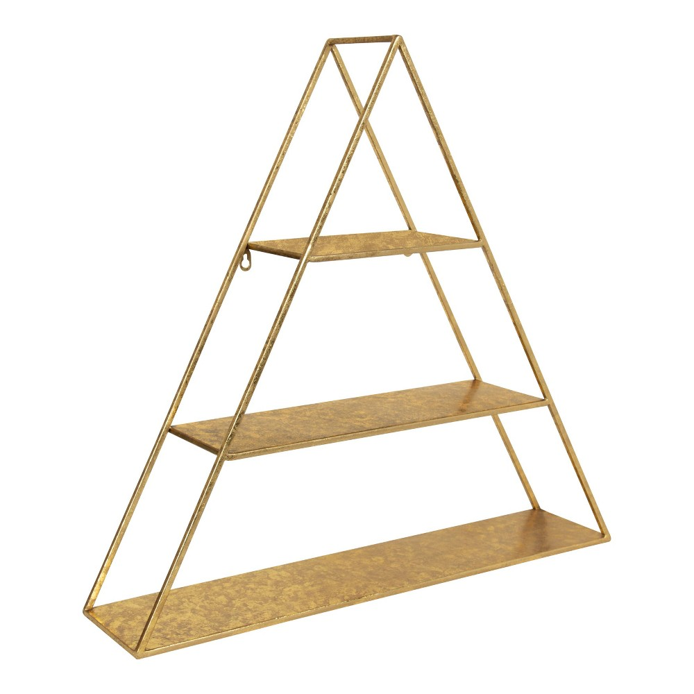 """Image of """"26.5"""""""" x 28"""""""" Tildan Three-Tier Triangle Wood and Metal Wall Shelf Gold - Kate & Laurel All Things Decor"""""""