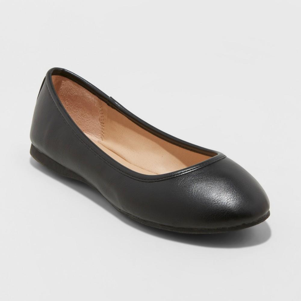 Women's Everly Wide Width Round Toe Ballet Flats - Universal Thread Black 11W, Size: 11Wide