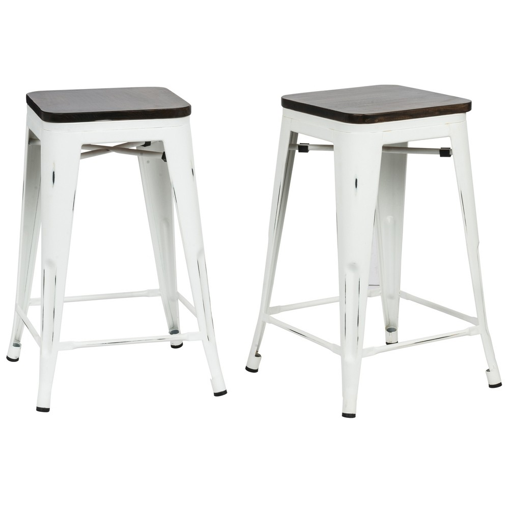 "Image of ""24"""" Emil Square Counter Stool Set of 2 Matte White - Carolina Chair and Table, Matt White"""