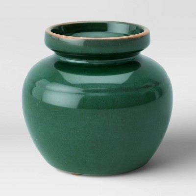 "5.5"" x 6"" Glazed Ceramic Vase Green - Threshold™"