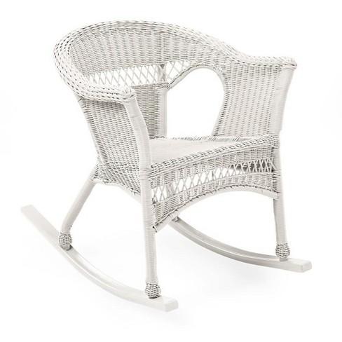 Sensational Easy Care Resin Wicker Rocker Bright White Plow Hearth Cjindustries Chair Design For Home Cjindustriesco