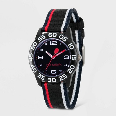 Kids' Red Balloon Plastic Time Teacher Red And White Stripe Watch - Black
