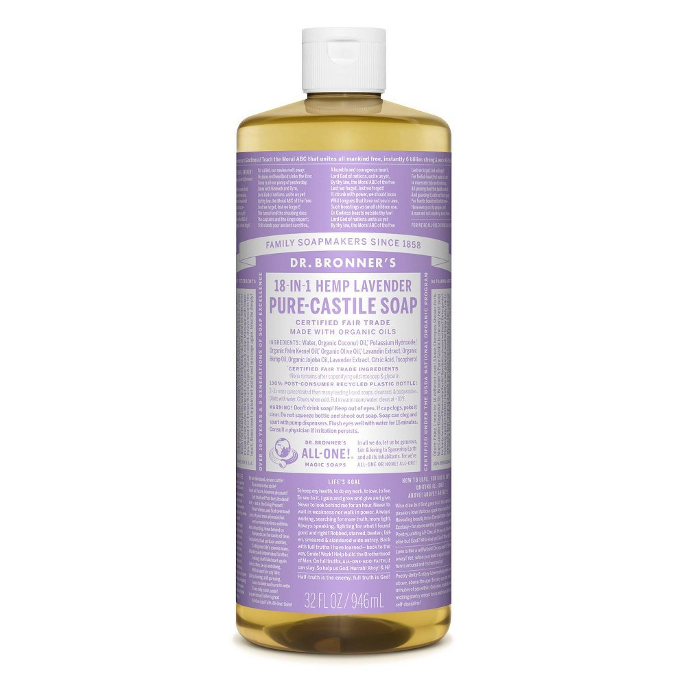 Image of Dr. Bronner's 18-In-1 Hemp Pure-Castile Soap - Lavender - 32 fl oz