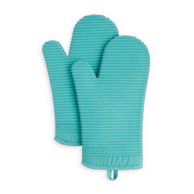 KitchenAid 2pk Silicone Ribbed Oven Mitts Blue