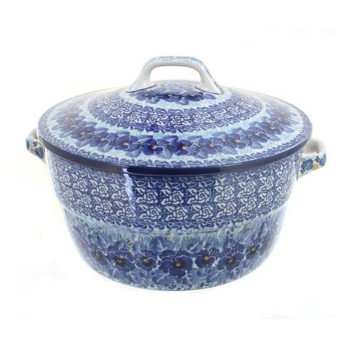 Blue Rose Polish Pottery Joanna Covered Round Baker - image 1 of 1
