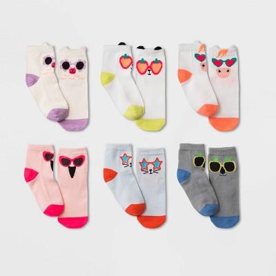 Toddler Girls' 6pk Animals/Sunglasses print Socks - Cat & Jack™