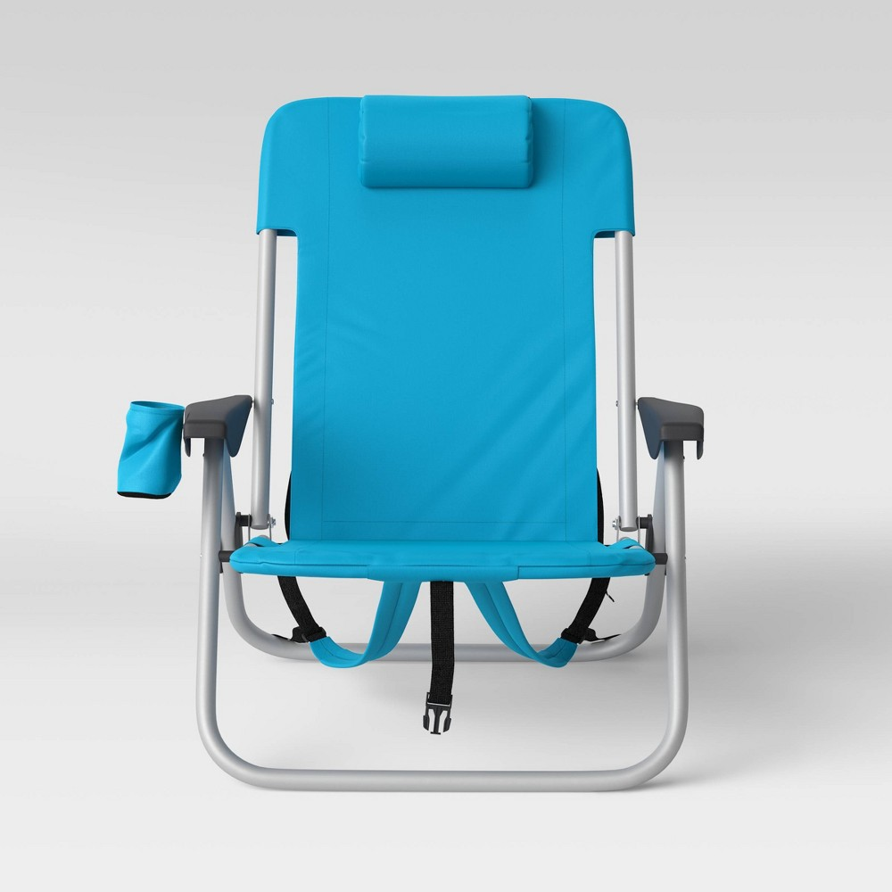 Image of 2pk Folding Backpack Chairs Blue - Room Essentials