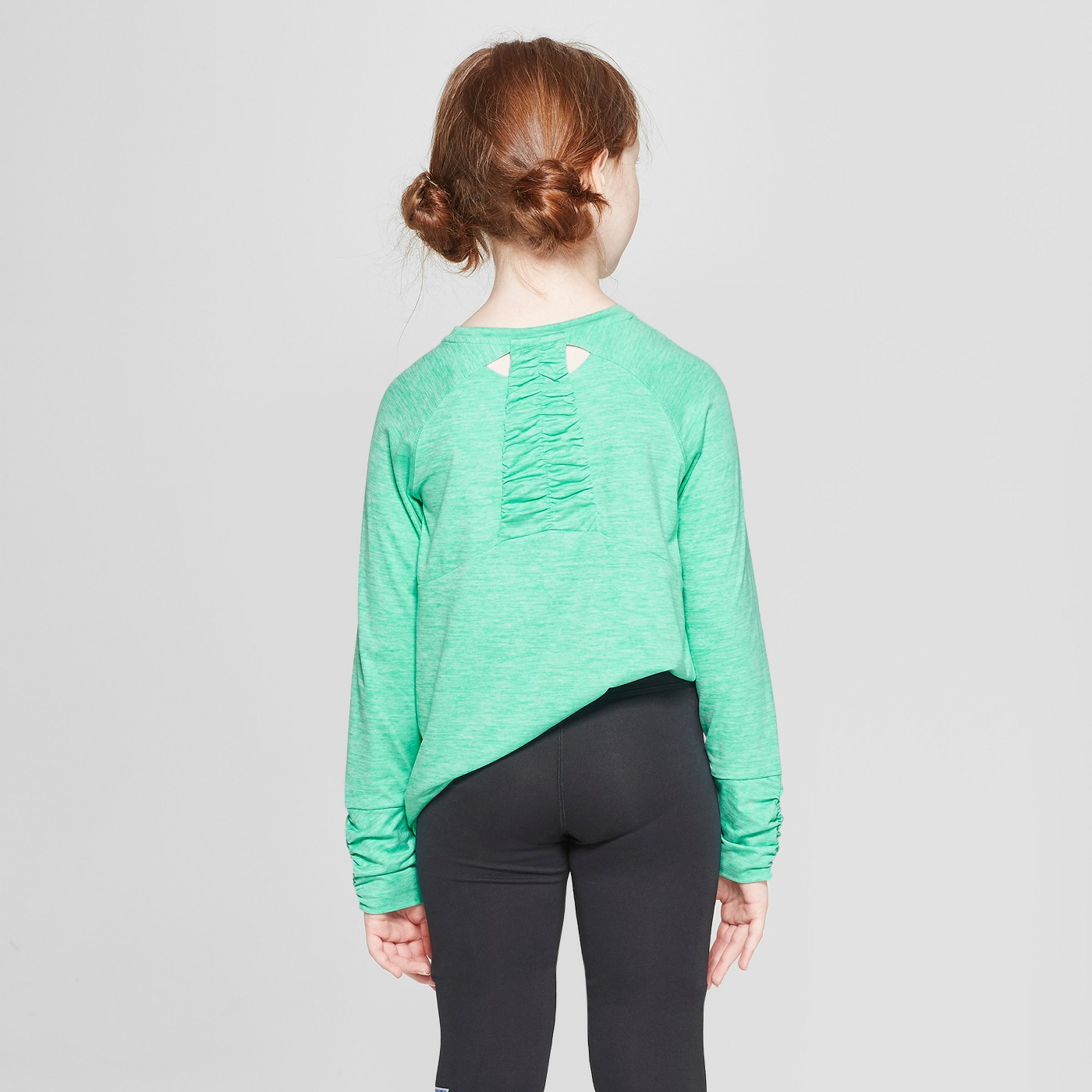 Girls' Ruched Super Soft Long Sleeve T-Shirt - C9 Champion® - image 2 of 3