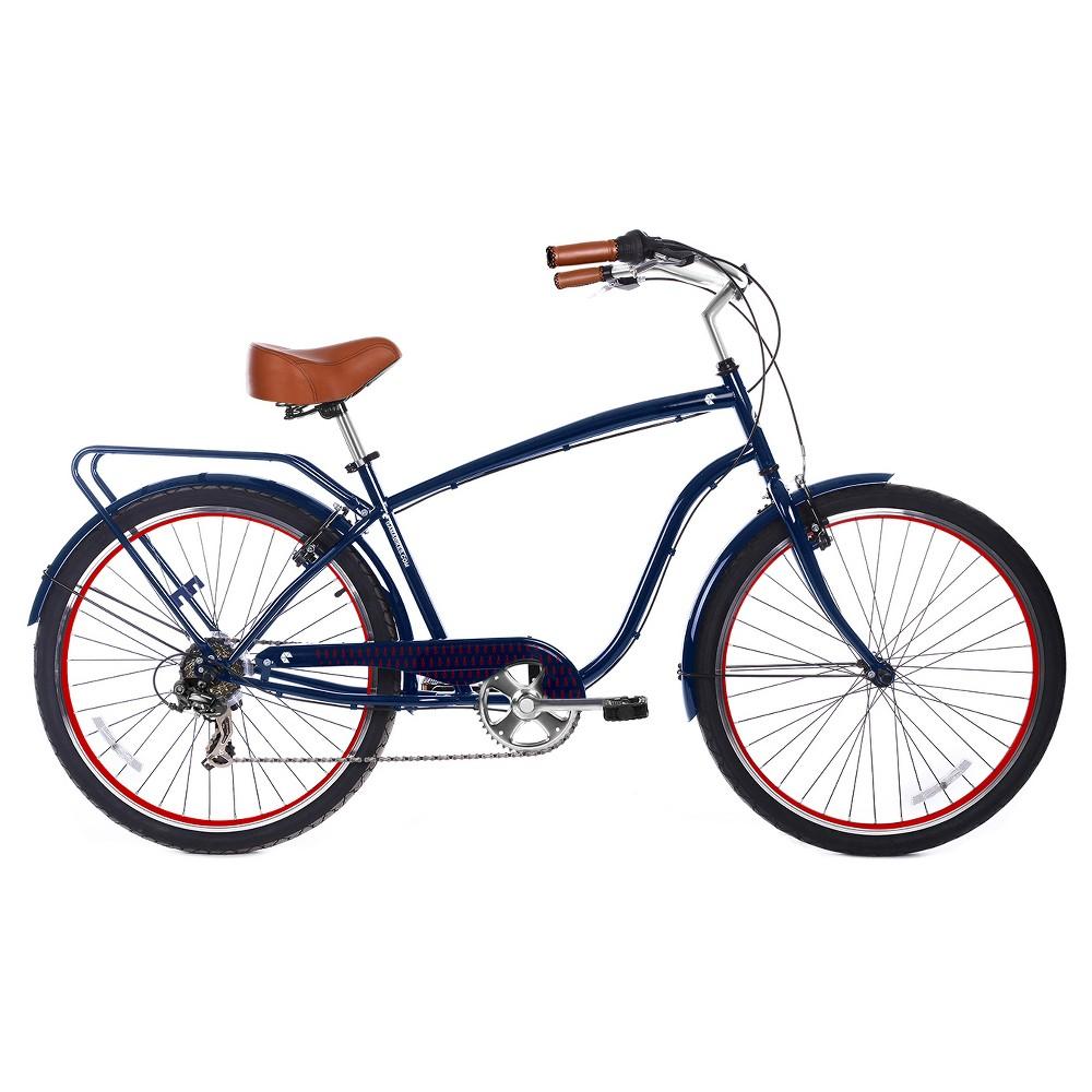 Gama Bikes Men's Cruiser 26 7-Speed Urban Hybrid Commuter - Navy (Blue)