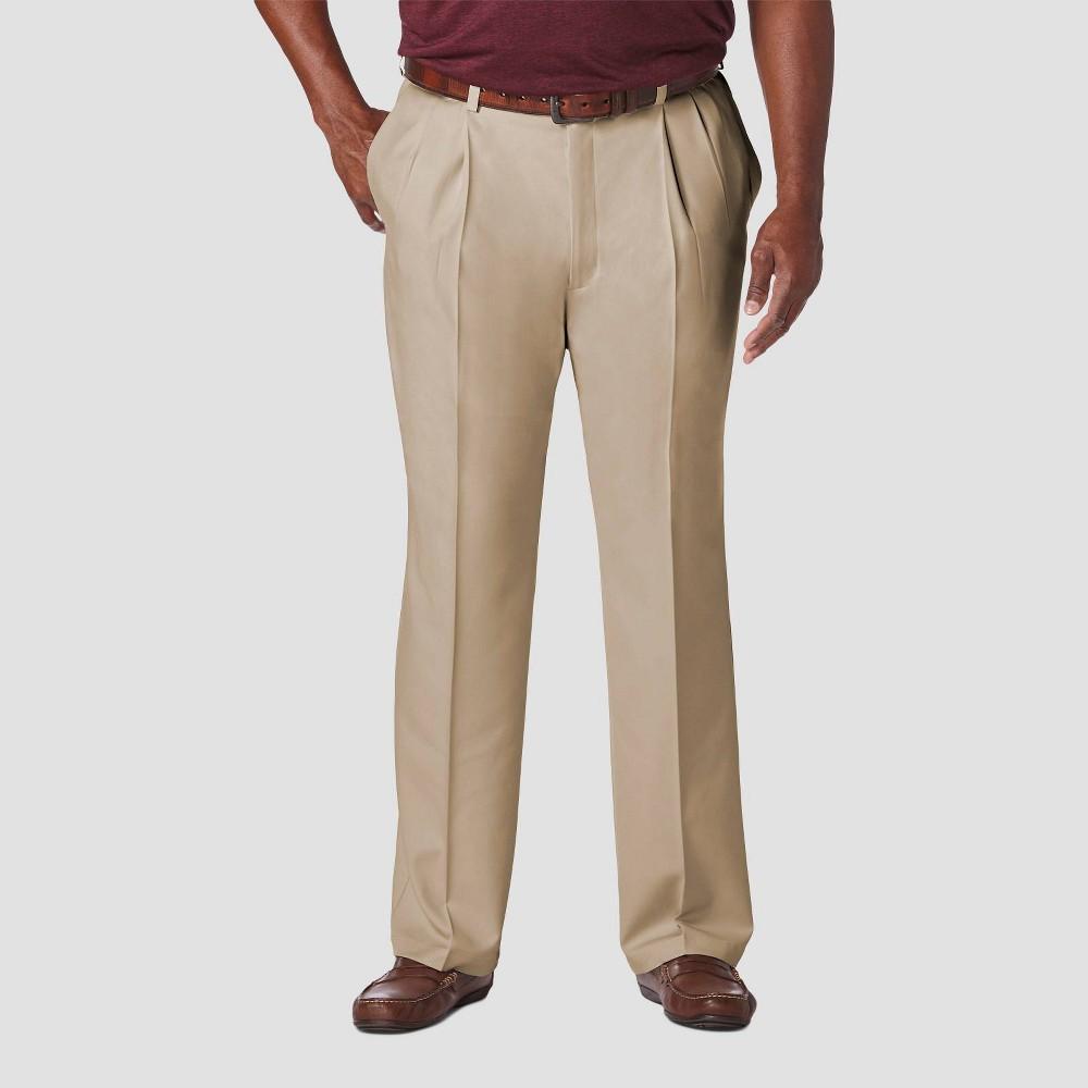 Haggar Men 39 S Big 38 Tall Cool 18 Pro Classic Fit Pleat Casual Pants Khaki 44x36