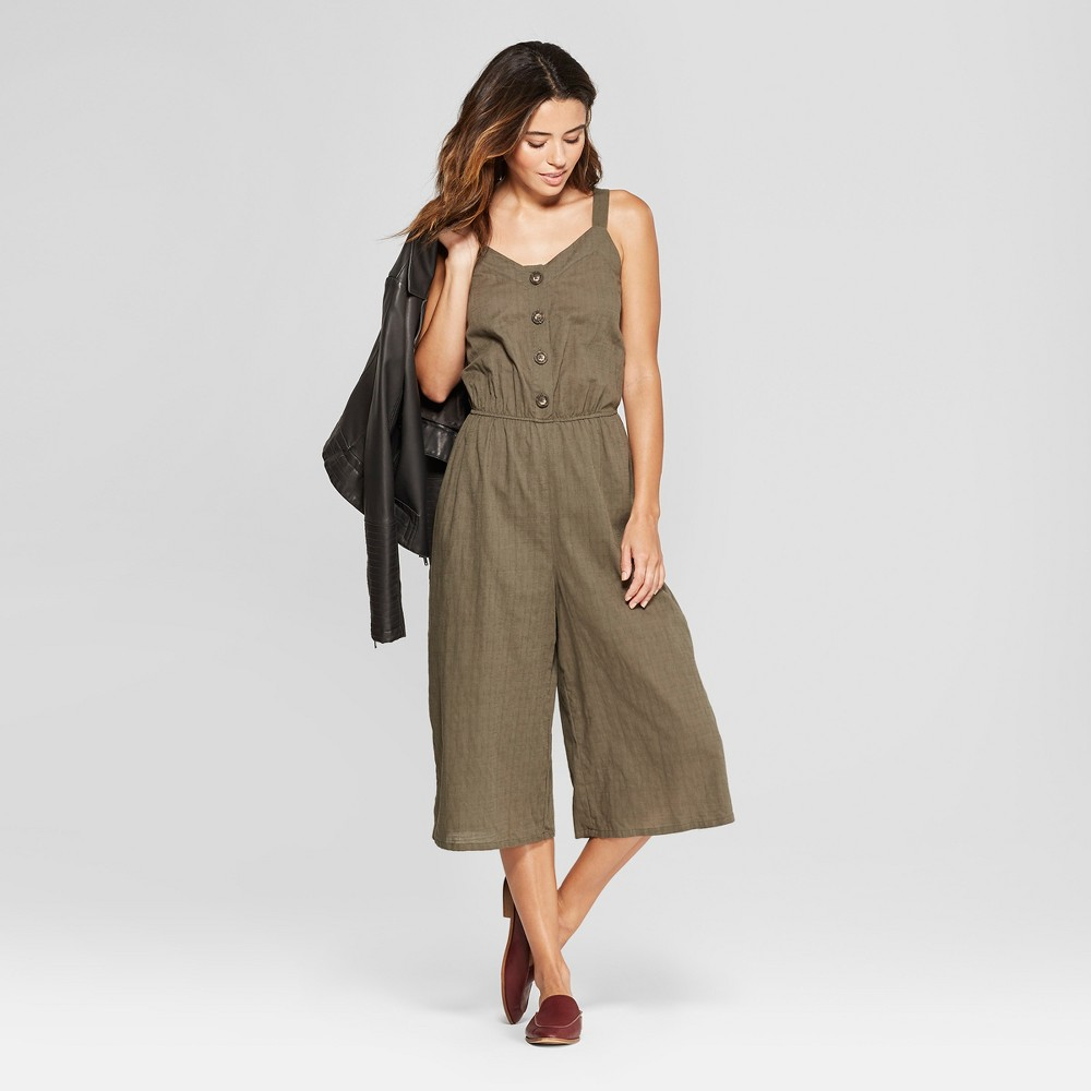Women's Button Front Jumpsuit - Universal Thread Olive M, Green