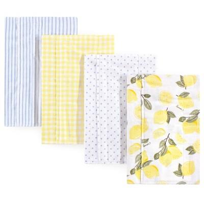 Hudson Baby Infant Girl Cotton Flannel Burp Cloths 4pk, Lemons, One Size