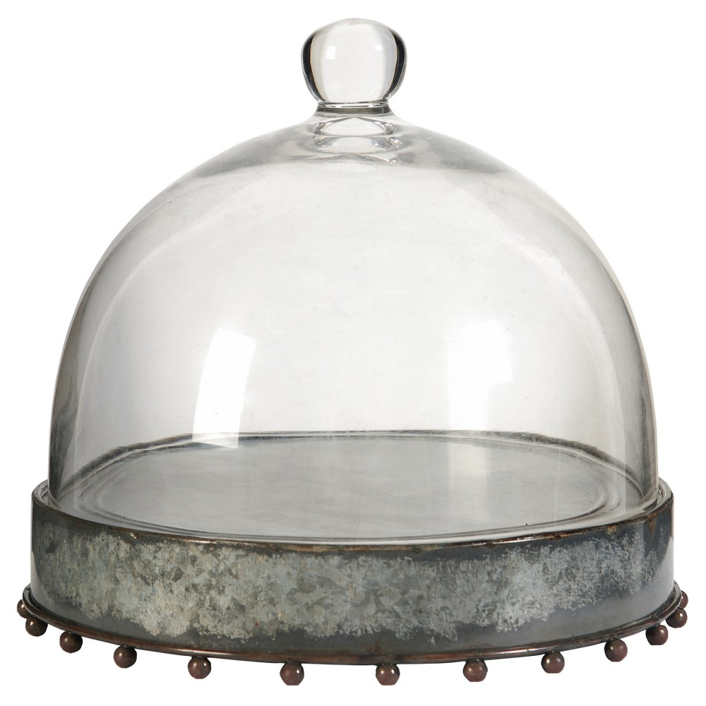 Image of Knox Plate with Glass Dome - Large - A&B Home, Silver