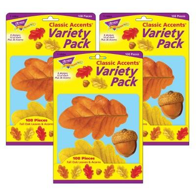 3pk 108 per Pack Fall Oak Leaves & Acorns Classic Accents - TREND