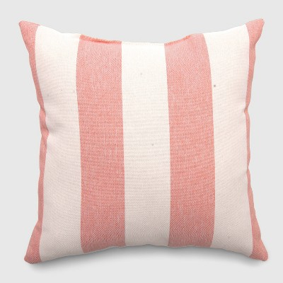 Square Cabana Stripe Outdoor Pillow Coral - Threshold™