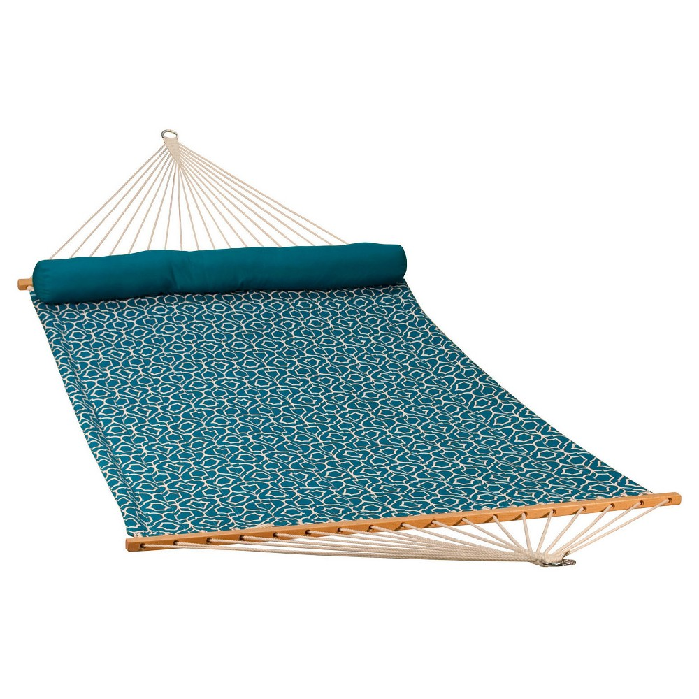 Algoma 13' Reversible Quilted Hammock With Matching Pillow - Lowry Lattice, Blue