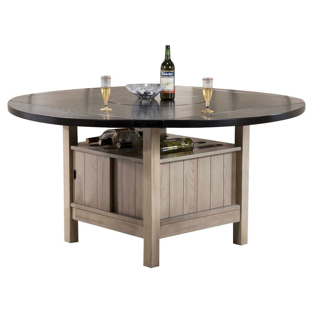 Ramona Dining Table - Dark Walnut (Brown) and Antique Beige - Acme