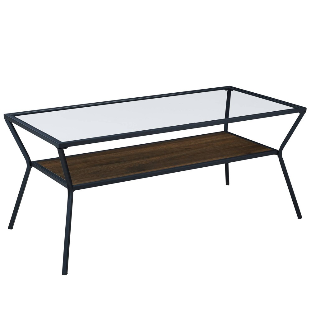 42 Modern Metal & Glass Coffee Table Dark Walnut - Saracina Home