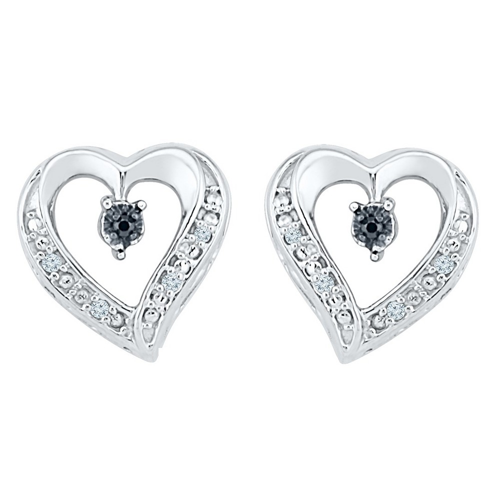 Image of 0.030 CT. T.W. Round-Cut Black and White Diamond Heart Prong Set Earring in Sterling Silver (IJ-I2-I3), Women's