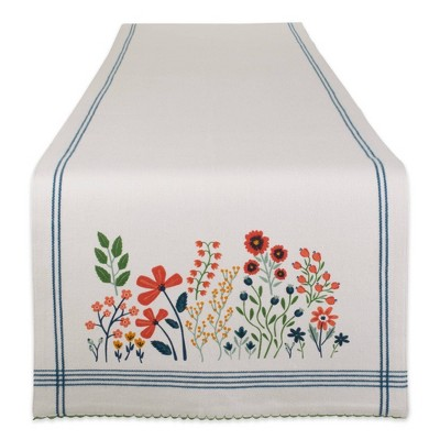 "72"" x 14"" Cotton Embellished Garden Table Runner - Design Imports"