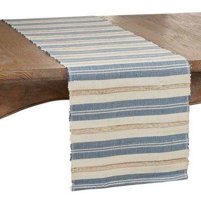 "72"" x 14"" Water Hyacinth Striped Table Runner Blue - Saro Lifestyle"