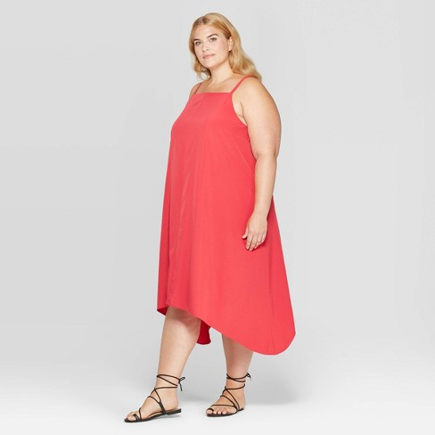 Women\'s Plus Size Square Neck Sleeveless A Line Midi Dress - Prologue™ Red