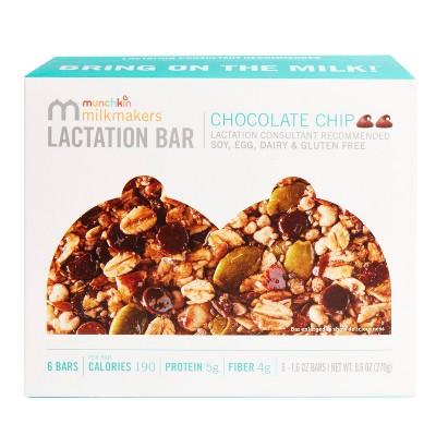 Munchkin Milkmakers 6pk Lactation Bars Gluten Free - Chocolate Chip