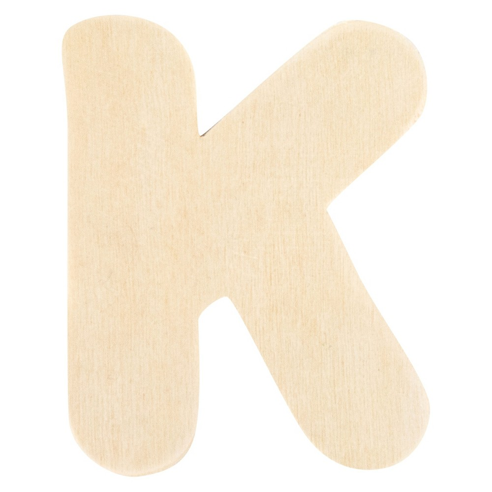 Creatify Wooden Letter K - 3 x 3, Brown