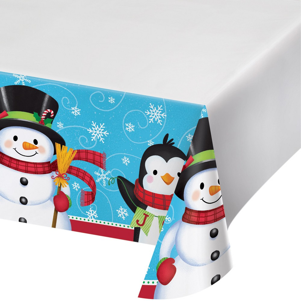 Snowman and Penguin Plastic Tablecloth