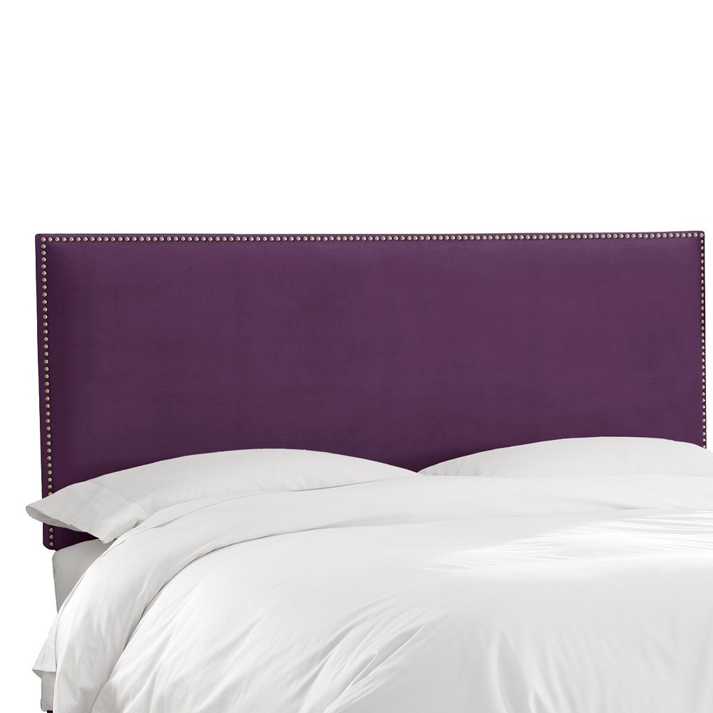 California King Arcadia Nailbutton Headboard Velvet Aubergine - Skyline Furniture