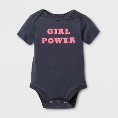 Baby Short Sleeve Girl Power Graphic Bodysuit - Cat & Jack™ Turbine Gray 0-3M