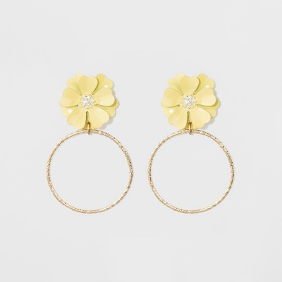 Flower and Wire Circle Earrings - A New Day™ Yellow/Gold
