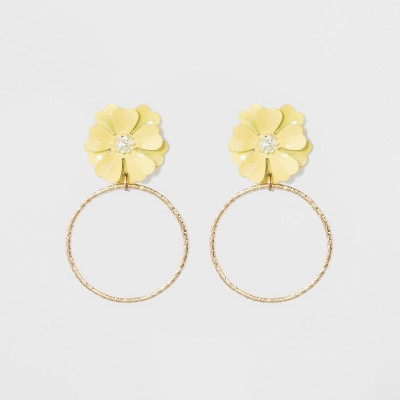 view Flower and Wire Circle Earrings - A New Day Yellow/Gold on target.com. Opens in a new tab.