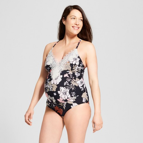 280a7206e2c6e Maternity Floral Printed Lace Front One Piece Swimsuit - Sea Angel - Black