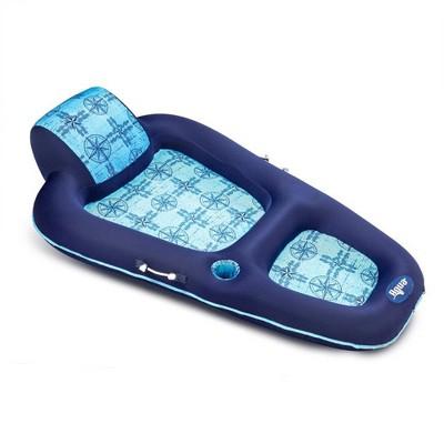 Aqua Leisure Luxury Water Lounge Large Inflatible Pool Float w/ Headrest, Blue