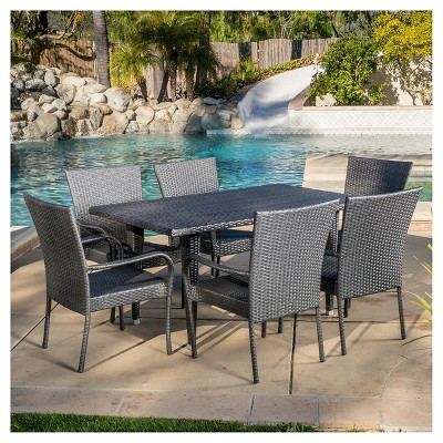 Delani 7pc Wicker Patio Dining Set - Gray - Christopher Knight Home