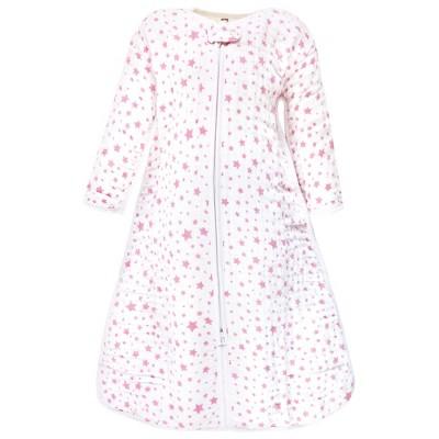 Hudson Baby Infant Girl Long Sleeve Muslin Sleeping Bag, Wearable Blanket, Sleep Sack, Pink Star