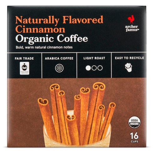Naturally Flavored Cinnamon Organic Light Roast Coffee - Single Serve Pods - 16ct - Archer Farms™ - image 1 of 4