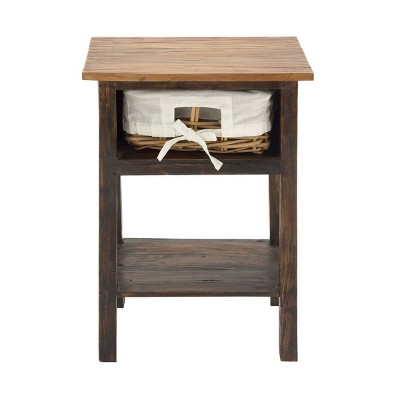 Farmhouse Wood and Rattan Side Table Dark Brown - Olivia & May