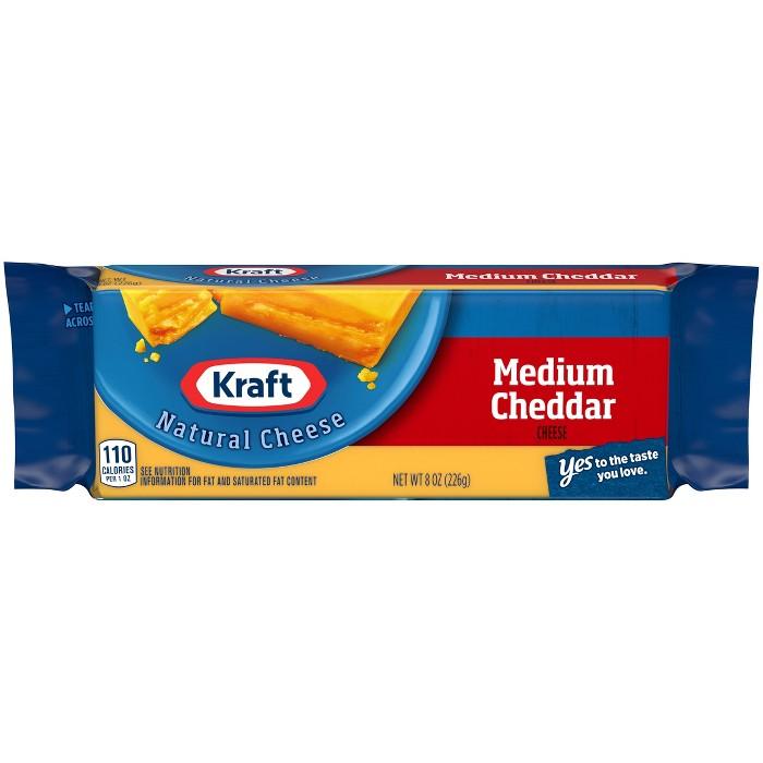 Kraft Natural Medium Cheddar Cheese Chunk - 8oz - image 1 of 3