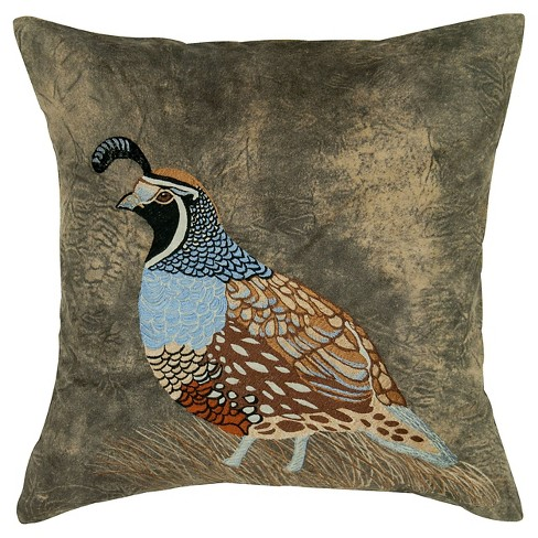 "Print Quail Applique Throw Pillow (18""x18"") - Rizzy Home - image 1 of 1"
