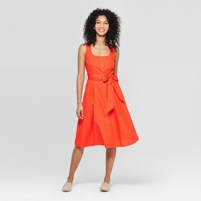 Women's Sleeveless Square Neck Dress   A New Day Orange by A New Day Orange