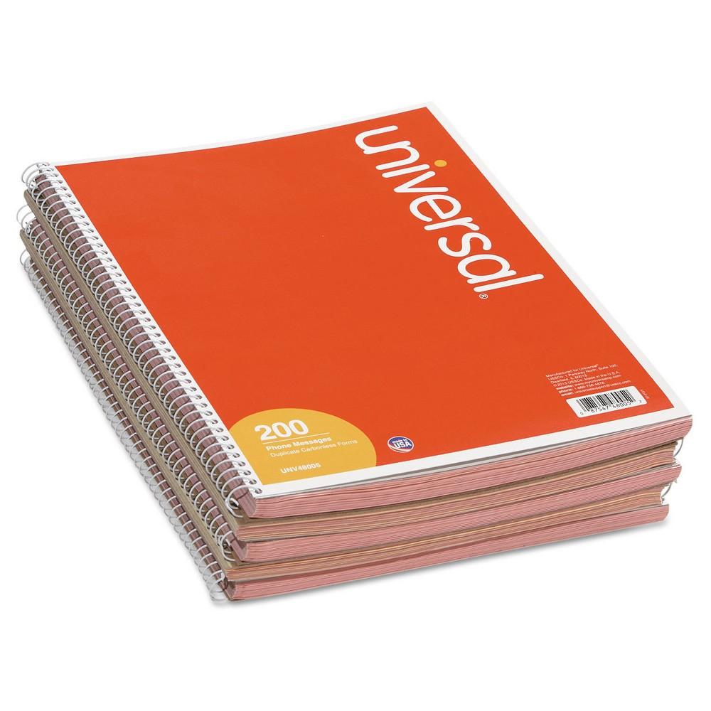 Universal Message Form, 3-3/16 x 5-1/2, Carbon less Duplicate, 200-Set Book -3 Pack, Pink