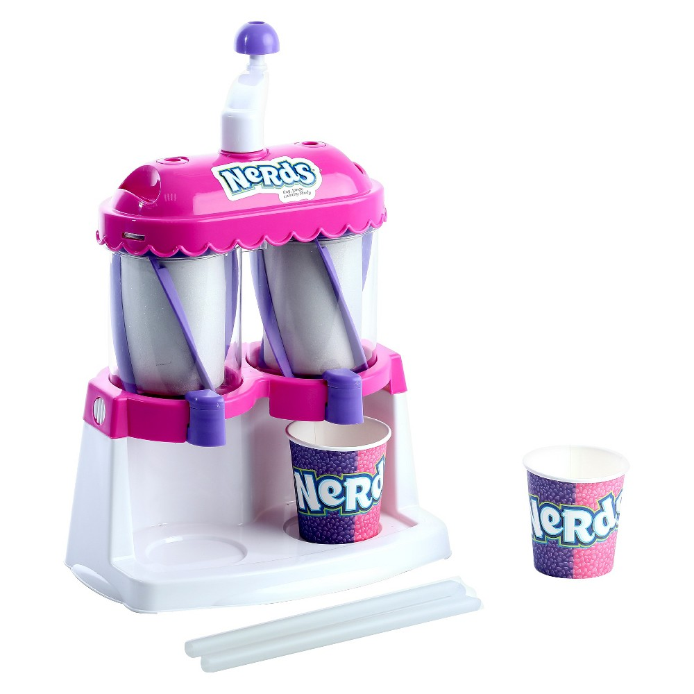 Amav Nerds Slush Machine, Real-Food Appliances It's double-fun!! Similar to the Slush Machine, but this one allows you to make two Nerds colors/flavors at the same time! Includes slush maker, straws and plastic cups. Suitable for ages 5 years old and up. Note - no food materials are included. Warning: Choking Hazard -- Small parts. Not for children under 3 yrs. Gender: Unisex.