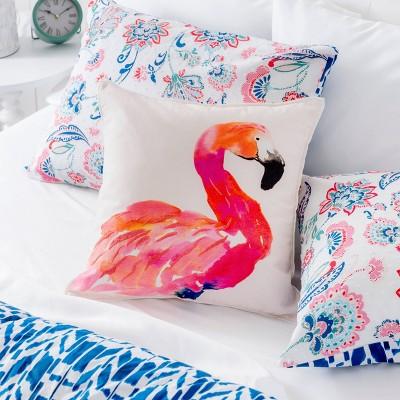 Coco Flamingo Throw  Pillow Cover White/Pink - Martha Stewart