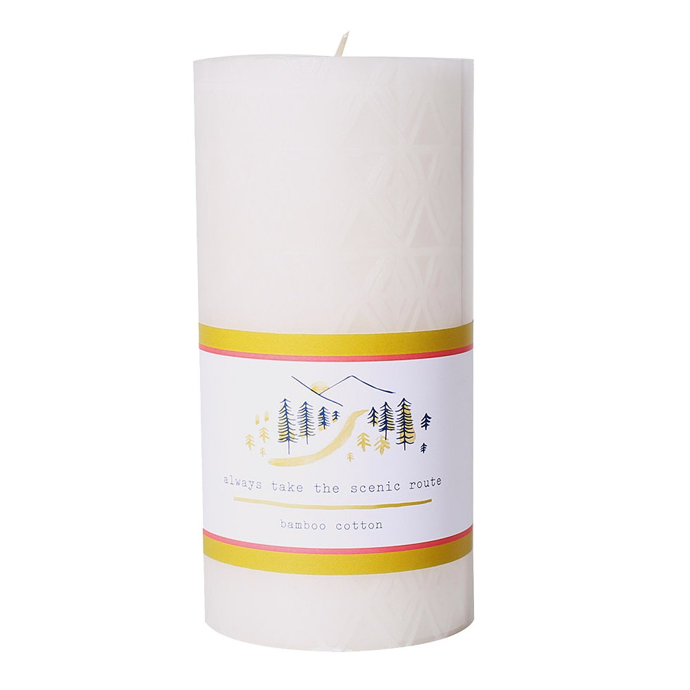 Image of 20.5oz Etched Pillar Candle Bamboo Cotton - Happy Place, Pink