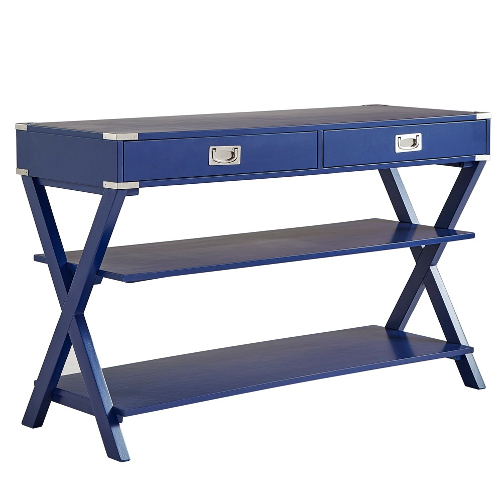 Borden Campaign Sofa Table & TV Stand - Royal Blue - Inspire Q