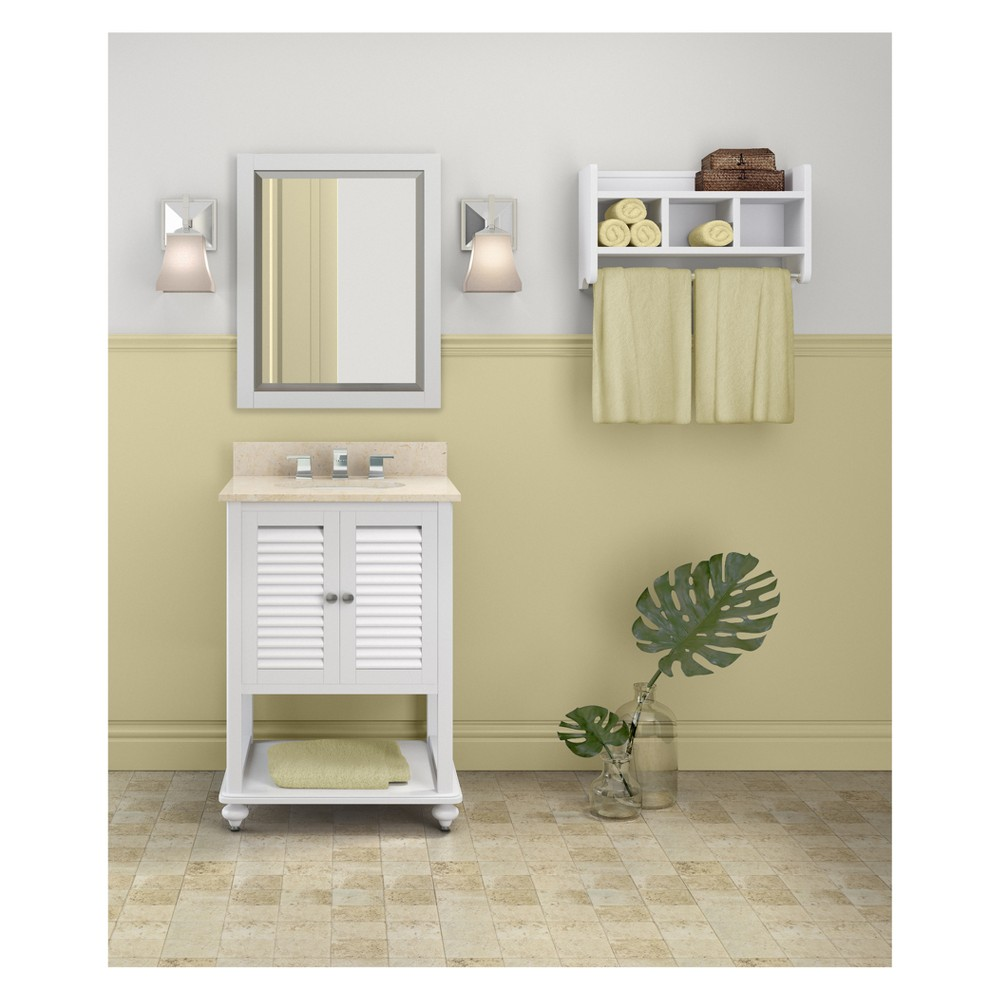 Tahiti with Beige Marble Sink Top and Bath Storage Shelf and Vanity Mirror Set Bath Vanity Cabinet White 25 - Alaterre Furniture