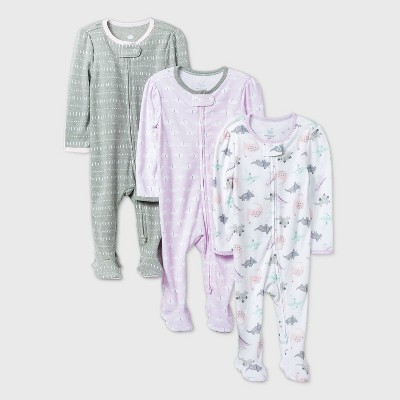 Baby Girls' 3pk Dino Dreams Sleep N' Play - Cloud Island™ Purple/White/Gray